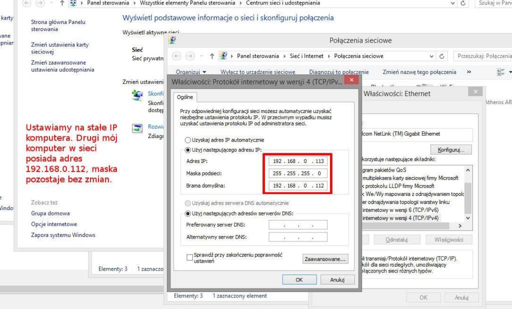 Rys. 4. Ustawienia adresu IP
