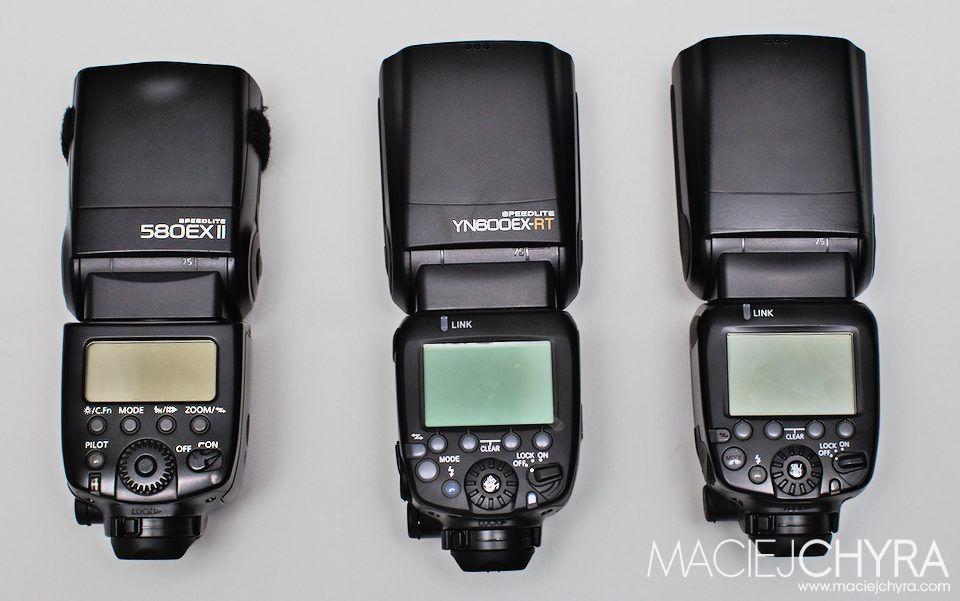 Od lewej: Canon 580EX II, YN600EX-RT, Canon 600EX