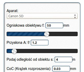 Kalkulator głębii ostrości DOF calc